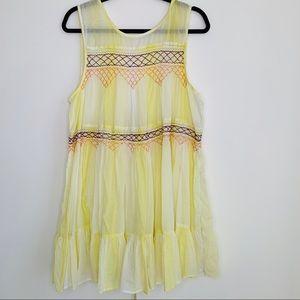 Free People yellow white tunic dress